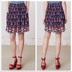 Maeve Adela Blue and Red Beaded Skirt